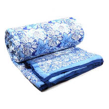 Beautiful Hand Block Printed Cotton Queen size Quilt Blossom Blue