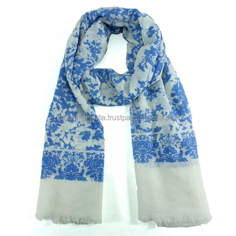 floral design cotton scarf blue white 100 cotton scarf