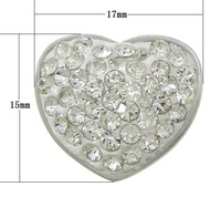 Stainless Ste acelet Finding 304 Stainless Ste with ay Pave Heart with 45 pcs rhinestone original color 17x15x12mm Hole:Appr 4mm