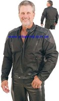 Lightweight Nylon and Leather Motorcycle Jacket with Vents, Wholesale Lightweight Nylon and Leather Motorcycle Jacket with Vents