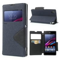 Popular Nice Card Slot Window View Leather Shell Fancy Diary for Sony Xperia Z1 Honami L39h