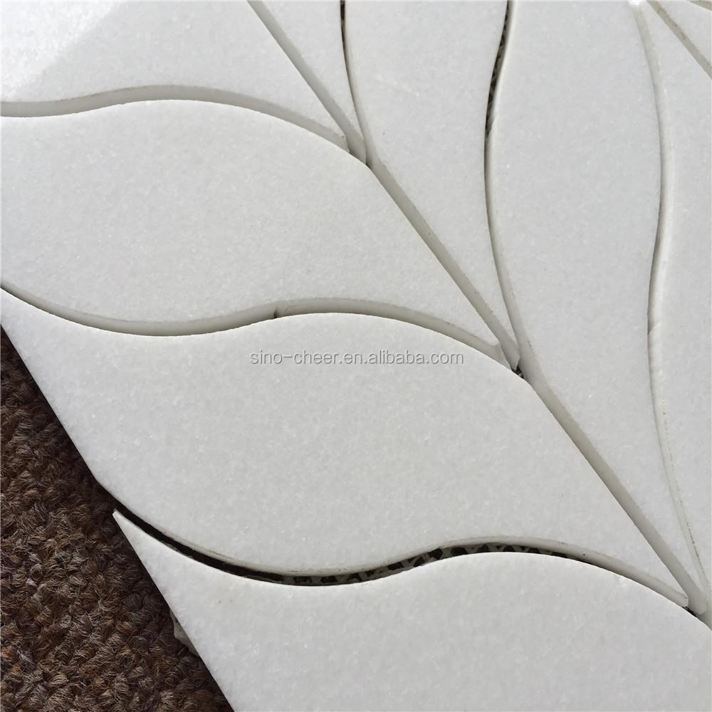 neue wasserstrahl weißem marmor blätter-muster mosaik wandfliese, Hause ideen