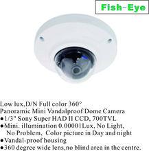 Low lux,D/N Full color 360 degree Panoramic Mini Vandalproof Dome Camera