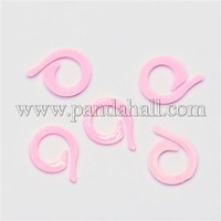Plastic Knitting Crochet Locking Stitch Markers Holder, Pink, 22x17x1.5mm, Hole: 10mm; about 1000pcs/bag TOOL-R053A-03