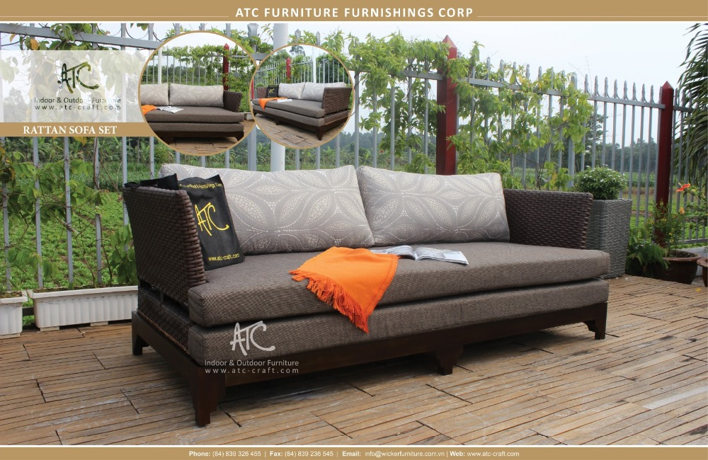 High quality synthetic rattan with wooden frame garden Synthetic wood patio furniture