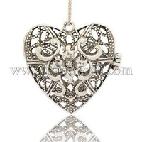 Tibetan Style Alloy Locket Big Pendants, Heart, Antique Silver, 62x59x27mm, Hole: 4mm