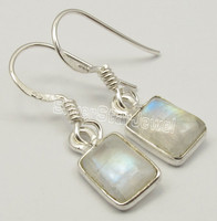 URBAN STYLE Earrings 2.7 CM, 925 Pure Silver Real RAINBOW MOONSTONE NEW Jewelry