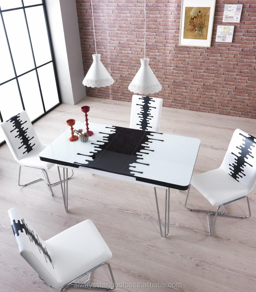 platzsparende weiß gehärtetem glas moderne esstisch und stuhl set, Esstisch ideennn