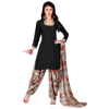 Stylish Black Colored Printed Polyester Dress Material salwar