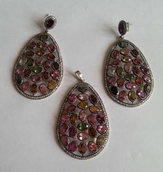 Micro pave setting Diamond Dangle Jewellery Multisapphire Gemstone Danglers