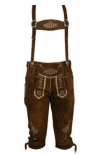 (Best Offer) MEN SHORT LENGTH BAVARIAN LEDERHOSEN BROWN, kurz Oktuberfest bavarian shorts traditional bavarian shorts