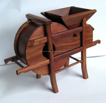 Fortune Bean Mill, Rosewood water mill carving, Wooden carving, Bumper harvest
