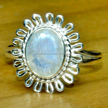 Rainbow Moonstone Silver Ring, 925 Sterling, Natural Gemstone Chrome Diopside SER4132