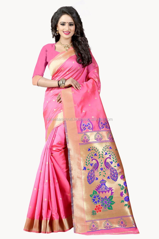 Shree Sanskruti Rosa Claro Color Poli Jacquard Sari de Seda con ...