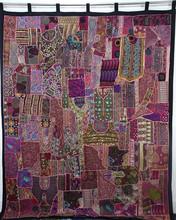 Indian Recycle Sari Patchwork Curtains , Handmade Patchwork Wall Decor Art Curtains