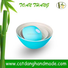 Bamboo bowl with various colors, 100% handmade in Vietnam