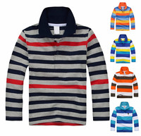 Fashion polo shirt with Multi color stripe man Polo shirt long sleeves polo shirt for men