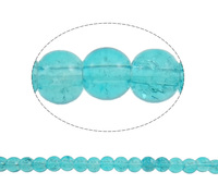 turquoise blue Round Crackle Glass Beads