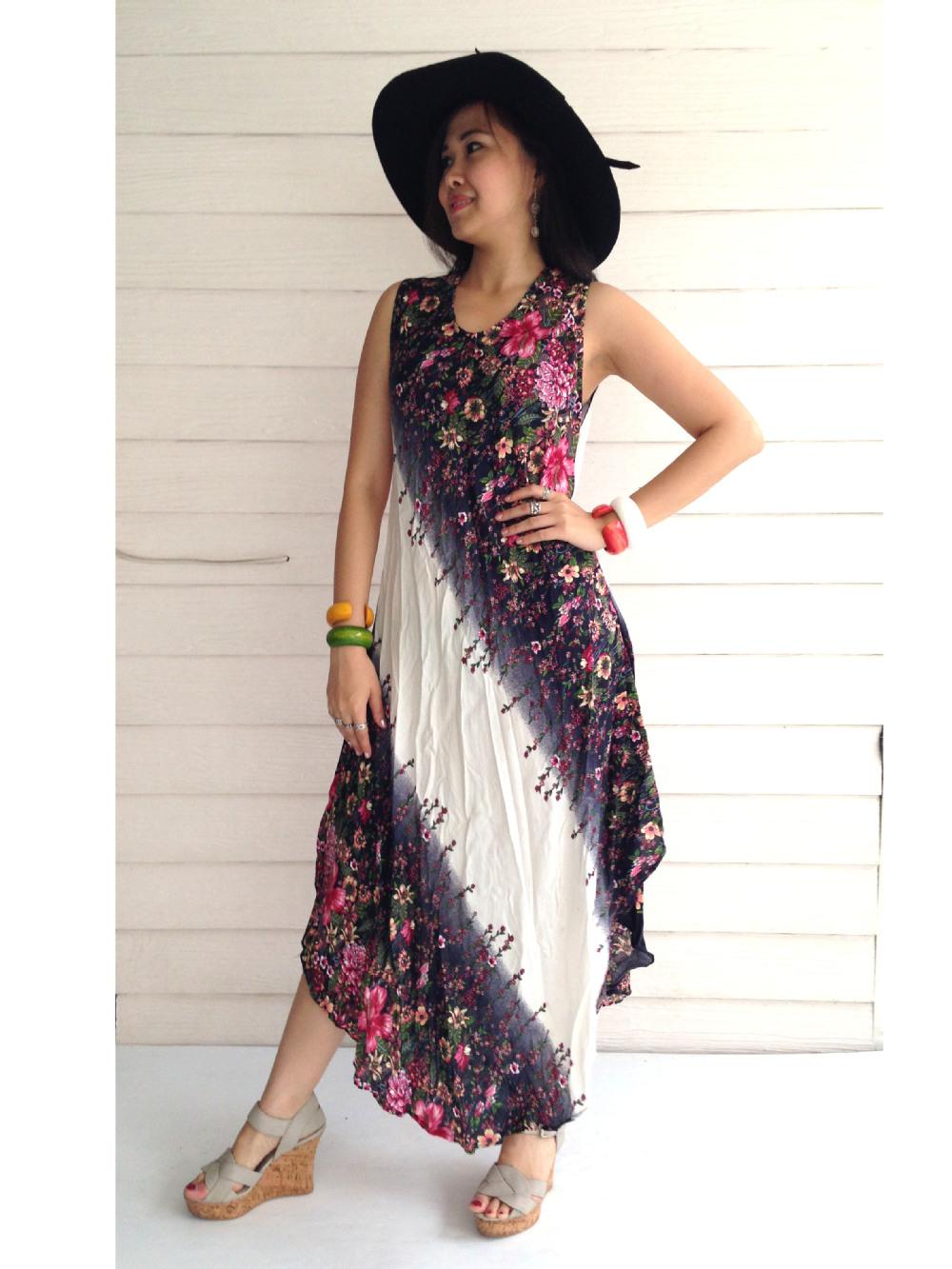 Wholesales Cheap Plus Size Hawaiian Beach Comfy Woman Maxi Dress ...
