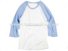 Raglan 3/4 sleeve custom printing wholesale cotton t-shirt in white / skyblue