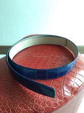 Genuine Crocodile Skin Belt Hide Blue