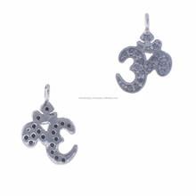 925 ayar gümüş Hint siyah elmas om cazibe kolye takı vintage elmas takı koleksiyonu