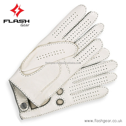 Whit Leather deiver Gloves, Men fashion Driver Leather Gloves cow Leather gloves-OEM-ODM original leather unlined Driver Gloves