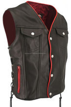 New Style Red Lining Fashion Motorcycle Biker Vest/waistcoat In High Quality Cow Grain.