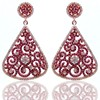 Red LeafLab Ruby and Diamond White Style Earrings