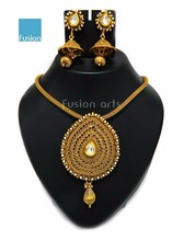 South Indian Style Artificial Gold Plated Pearl Pendant Costume Designer Jewelry