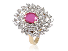 GLITTERING 1.11 CTS NATURAL DIAMOND COCKTAIL RING IN SOLID BIS HALLMARK 14KT YELLOW GOLD