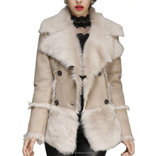 Women's Designer Toscana Leather Shearling Jacket Double Breasted
