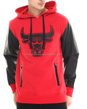 Chicago Bulls Marled Hoodie with faux leather sleeves