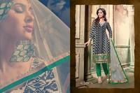 Fancy Designer Straight Chudidar Black & Green