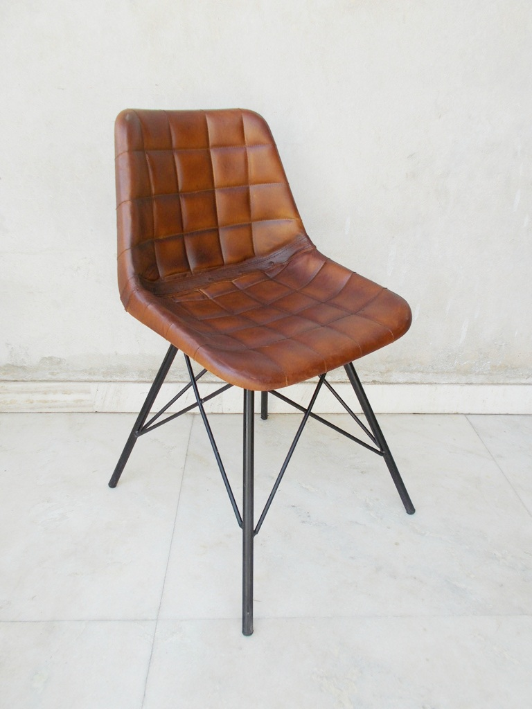 Vintage Industrial Iron Chair Industrial Iron Leather