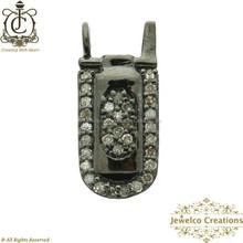 Silver Diamond Charm, Diamond Pave Cell Charm, 925 Silver Moblie Pendant Charm, Charm Pendant Jewelry, Silver Jewelry Wholesaler