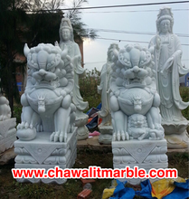 fudog white marble Sculpture Carving Size 100CM.