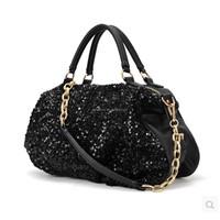 Womens Handbags Ladies Fashion Bling Sequins Handbag PU Leathe Gold Chains Tote European American Style Solid Shoulder Bag Purse