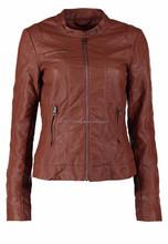 stylish leather jacket tan fitting new style sheep skin for girls