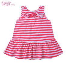 O-Neck Stylish Strip Middle Long Sleeveless Casual Baby Dress Pictures