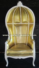 Antique French Furniture Canopy Chair - Gold Cushion White Finishing