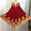 Red color batik printed paisley beautiful indian umbrella dress