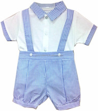 Infant Baby Boy Clothes - Boys 2pc Short Set w/Straps Light Blue Woven w/White Stripes and White Pull Over