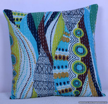 Indian Cotton Handmade Abstract Hand Kantha Quilted Cushion Cover Kantha Throw Pillow Cover Indian Textile Art