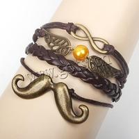 Combined Bracelet PU moustache & wing & with Wax Cord & Zinc Alloy & Acrylic antique bronze color plated lead & cadmium free 60