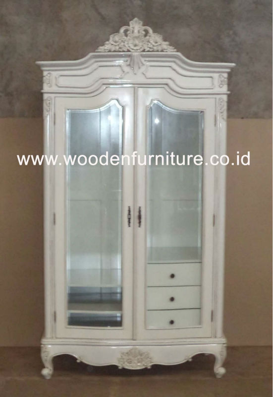 French style wardrobe two doors rococo armoire wooden furniture antique reproduction bed room - French style armoire wardrobe ...