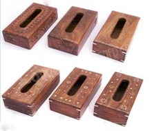WOODEN designer ANTIQUE RUSTED LOOK HANDCRAFTED TISSUE BOX