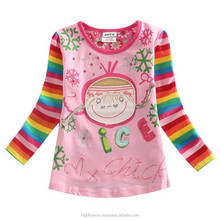 new fashion multi color cotton long sleeve children t shirt
