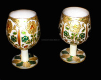 New Arrival 2016 Arabic Style Marble goblet of Jam pair Made from Single Stone decorated