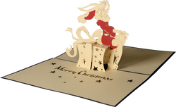 Noel Jessica rabbit card, pop up card, greeting paper card